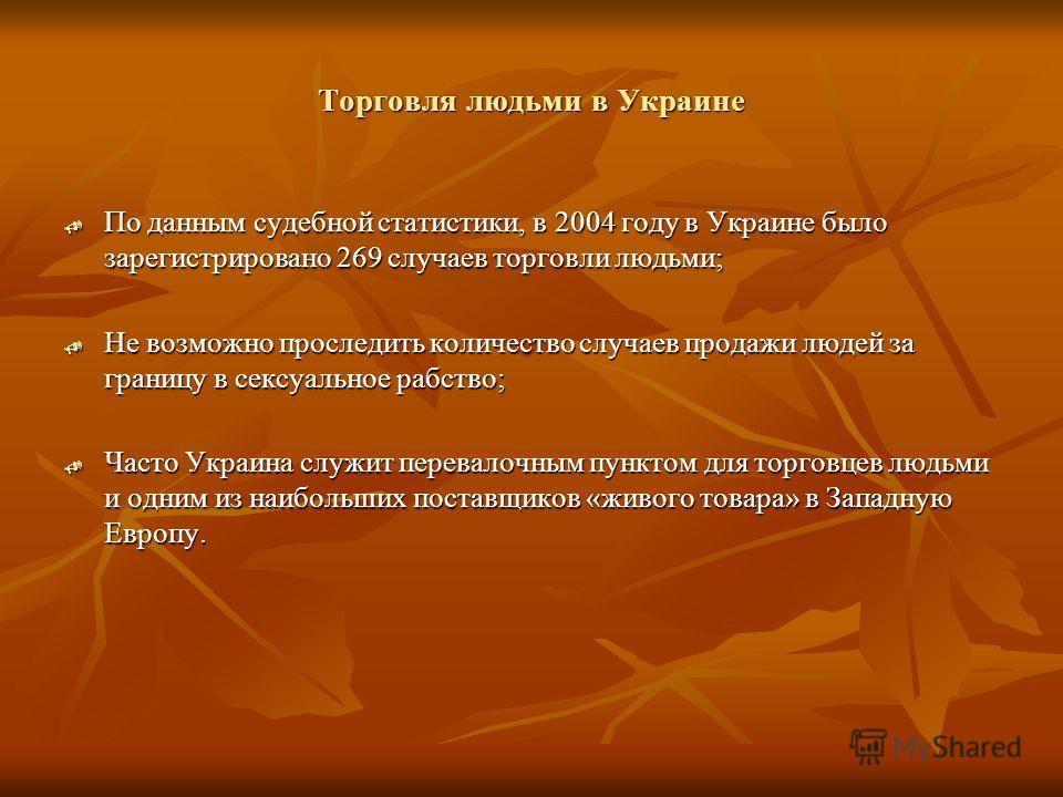 Торговля людьми в Украине По данным судебной статистики, в 2004 году в Украине было зарегистрировано 269 случаев торговли людьми; По данным судебной статистики, в 2004 году в Украине было зарегистрировано 269 случаев торговли людьми; Не возможно прос