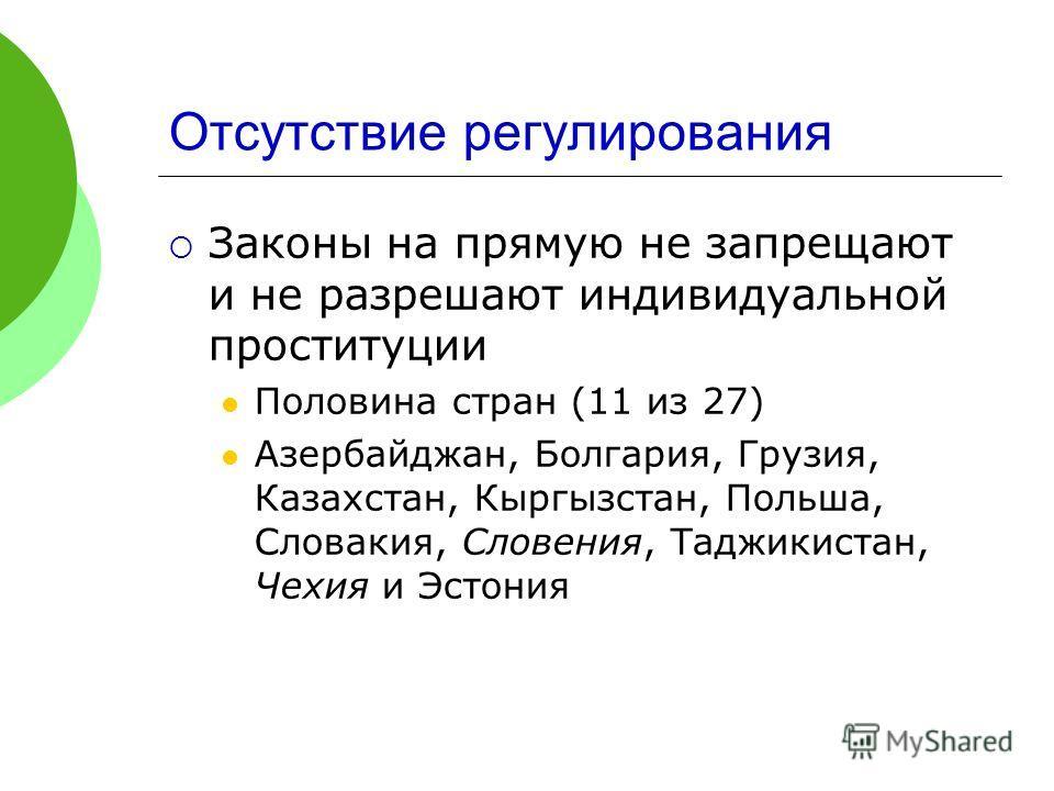 Отсутствие регулирования Законы на прямую не запрещают и не разрешают индивидуальной проституции Половина стран (11 из 27) Азербайджан, Болгария, Грузия, Казахстан, Кыргызстан, Польша, Словакия, Словения, Таджикистан, Чехия и Эстония