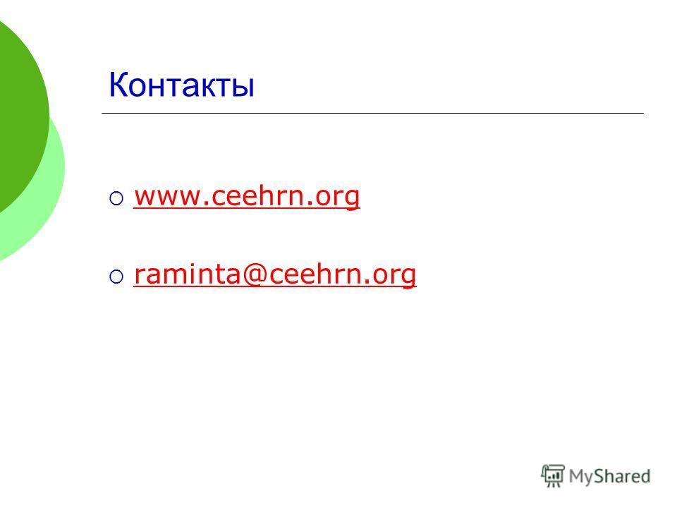 Контакты www.ceehrn.org raminta@ceehrn.org