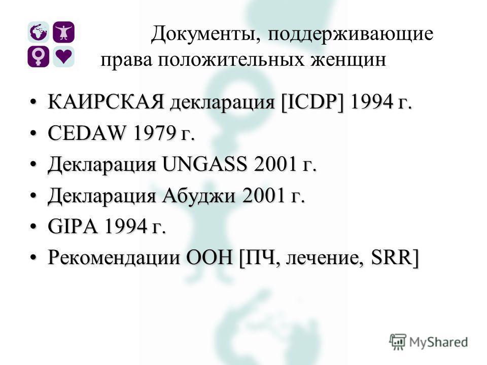 Документы, поддерживающие права положительных женщин КАИРСКАЯ декларация [ICDP] 1994 г.КАИРСКАЯ декларация [ICDP] 1994 г. CEDAW 1979 г.CEDAW 1979 г. Декларация UNGASS 2001 г.Декларация UNGASS 2001 г. Декларация Абуджи 2001 г.Декларация Абуджи 2001 г.