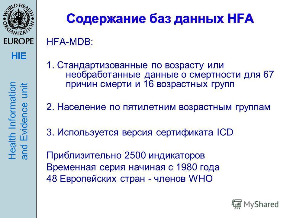 HIE Health Informationand Evidence unit Содержание баз данных HFA HFA-MDB: 1. Стандартизованные по возрасту или необработанные данные о смертности для 67 причин смерти и 16 возрастных групп 2. Население по пятилетним возрастным группам 3. Используетс