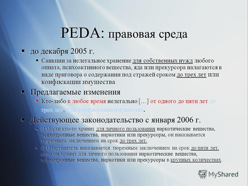 PEDA: правовая среда до декабря 2005 г. Санкции за нелегальное хранение для собственных нужд любого опиата, психоактивного вещества, яда или прекурсора налагаются в виде приговора о содержании под стражей сроком до трех лет или конфискации имущества