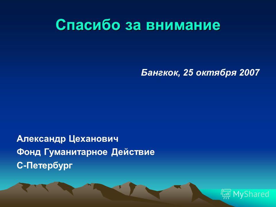 Спасибо за внимание Бангкок, 25 октября 2007 Александр Цеханович Фонд Гуманитарное Действие С-Петербург
