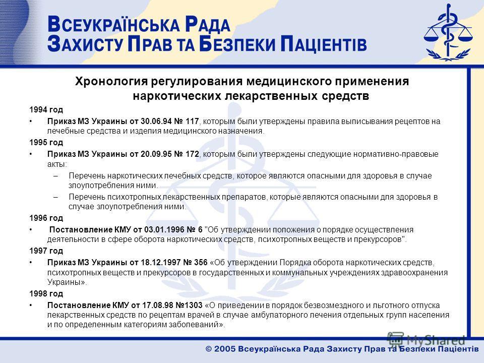 Хронология регулирования медицинского применения наркотических лекарственных средств 1994 год Приказ МЗ Украины от 30.06.94 117, которым были утверждены правила выписывания рецептов на лечебные средства и изделия медицинского назначения. 1995 год При