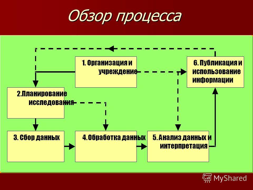 Обзор процесса 1. Организация и учреждение 2.Планирование исследования 3. Сбор данных 4. Обработка данных 5. Анализ данных и интерпретация 6. Публикация и использование информации