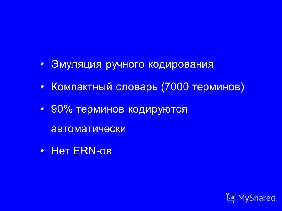 Эмуляция ручного кодирования Компактный словарь (7000 терминов) 90% терминов кодируются автоматически Нет ERN-ов