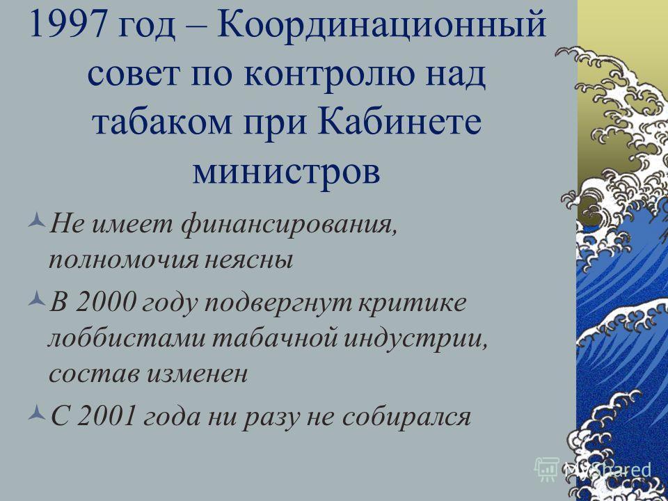 Закон о рекламе 1996 год - В марте парламент проголосовал за запрет табачной рекламы, но президент наложил вето В июле прошел компромиссный вариант – запрет только на радио и ТВ. 2001 год парламент проголосовал за немедленный запрет Президент предлож