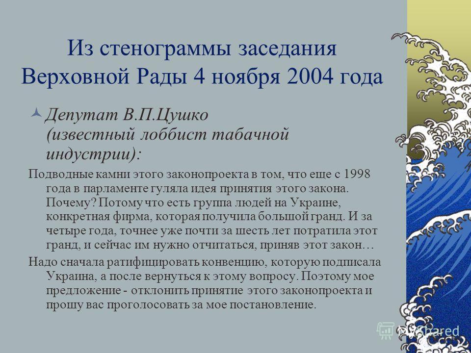 Голосование за направление законопроекта на повторное второе чтение – 3 июня 2004 года (максимальный уровень поддержки – 228 голосов «за» ) Сторонники: Наша Украина – 67 из 100 Компартия – 57 из 59 Соцпартия – 19 из 20 БЮТ – 17 из 19 Аграрная партия