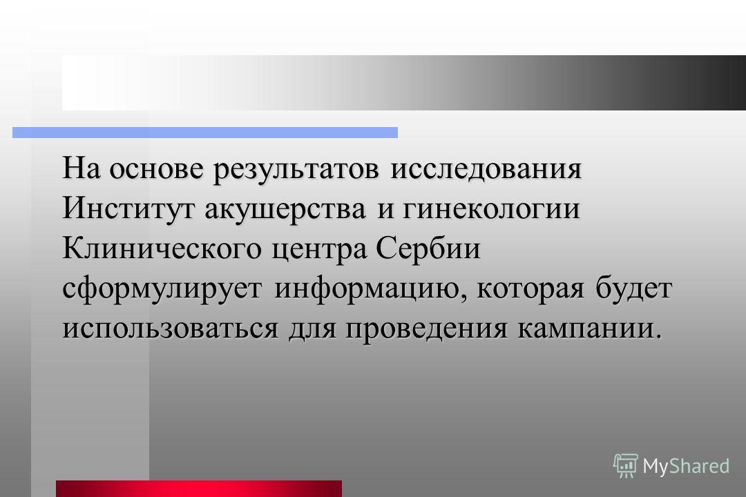На основе результатов исследования Институт акушерства и гинекологии Клинического центра Сербии сформулирует информацию, которая будет использоваться для проведения кампании.