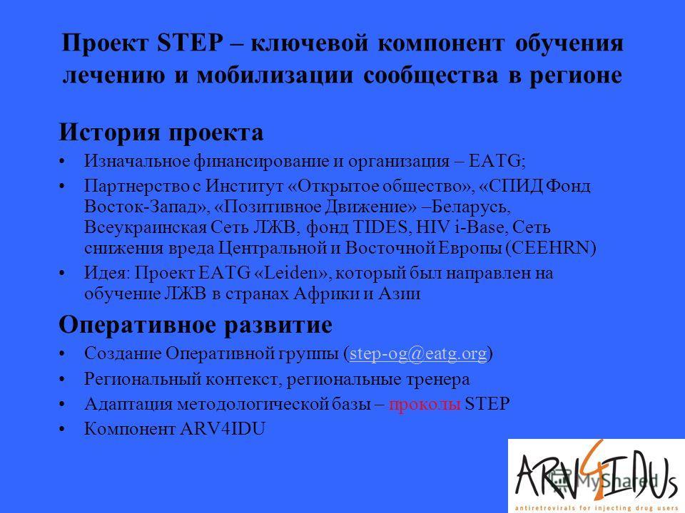 Проект STEP – ключевой компонент обучения лечению и мобилизации сообщества в регионе История проекта Изначальное финансирование и организация – EATG; Партнерство с Институт «Открытое общество», «СПИД Фонд Восток-Запад», «Позитивное Движение» –Беларус