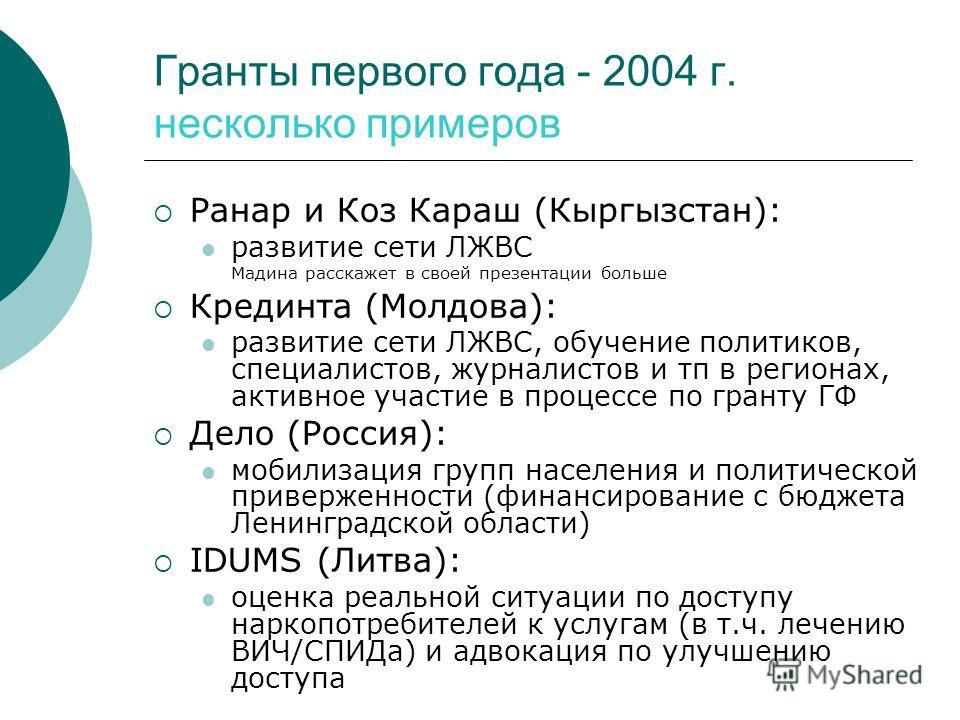 Гранты первого года - 2004 г. несколько примеров Ранар и Коз Караш (Кыргызстан): развитие сети ЛЖВС Мадина расскажет в своей презентации больше Крединта (Молдова): развитие сети ЛЖВС, обучение политиков, специалистов, журналистов и тп в регионах, акт