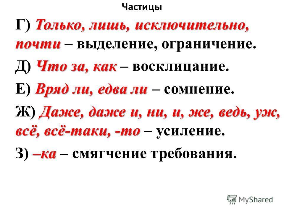 Частицы Только, лишь, исключительно, почти Г) Только, лишь, исключительно, почти – выделение, ограничение. Что за, как Д) Что за, как – восклицание. Вряд ли, едва ли Е) Вряд ли, едва ли – сомнение. Даже, даже и, ни, и, же, ведь, уж, всё, всё-таки, -т