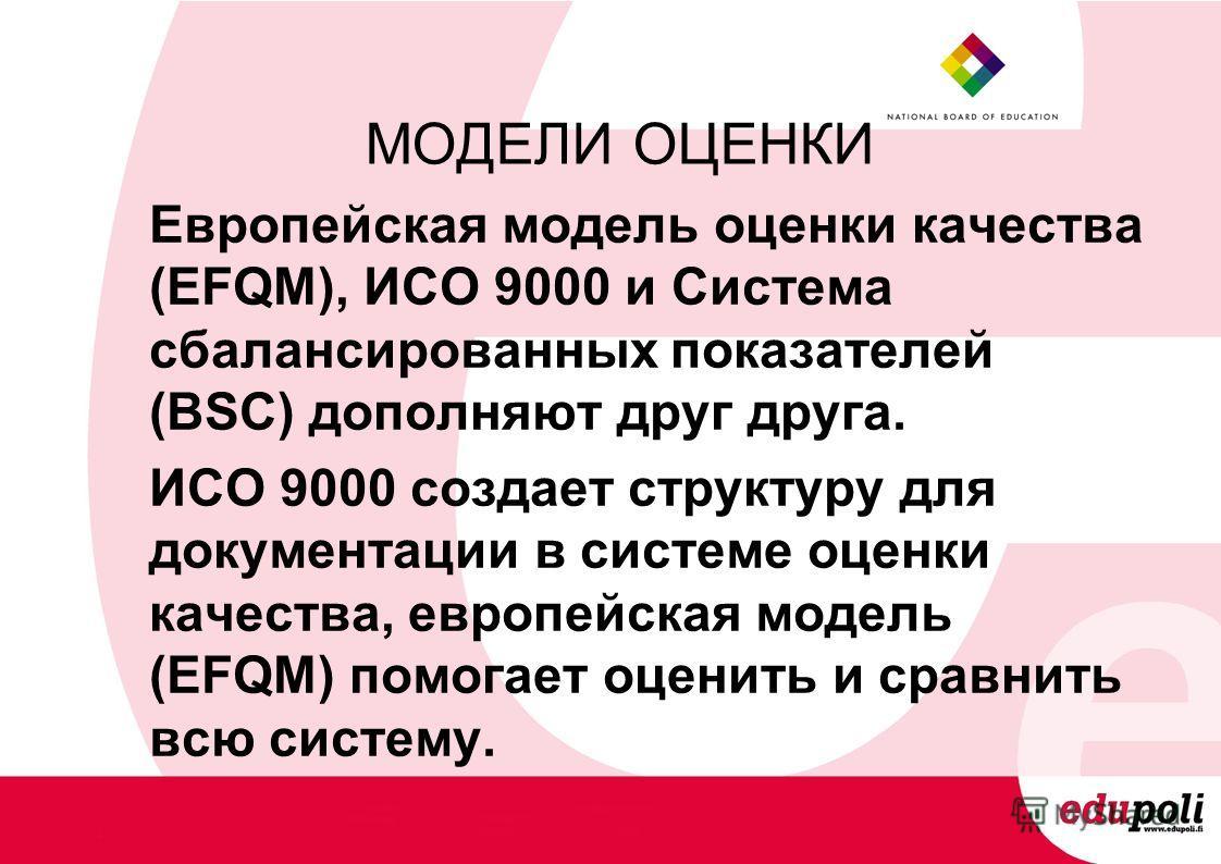 МОДЕЛИ ОЦЕНКИ Европейская модель оценки качества (EFQM), ИСО 9000 и Система сбалансированных показателей (BSC) дополняют друг друга. ИСО 9000 создает структуру для документации в системе оценки качества, европейская модель (EFQM) помогает оценить и с