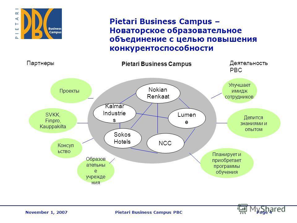 November 1, 2007Pietari Business Campus PBCPage 4 Pietari Business Campus – Новаторское образовательное объединение с целью повышения конкурентоспособности Делится знаниями и опытом Планирует и приобретает программы обучения Улучшает имидж сотруднико