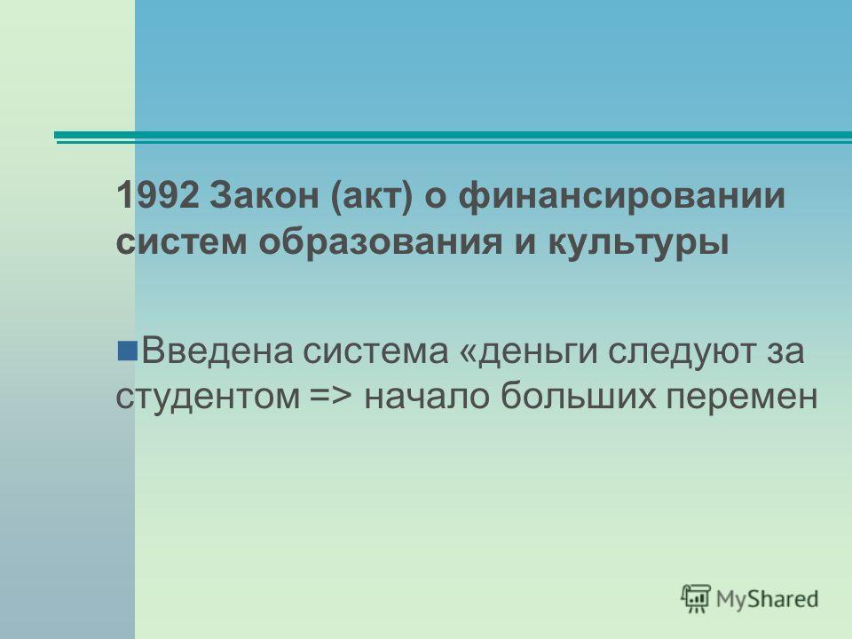 1992 Закон (акт) о финансировании систем образования и культуры Введена система «деньги следуют за студентом => начало больших перемен