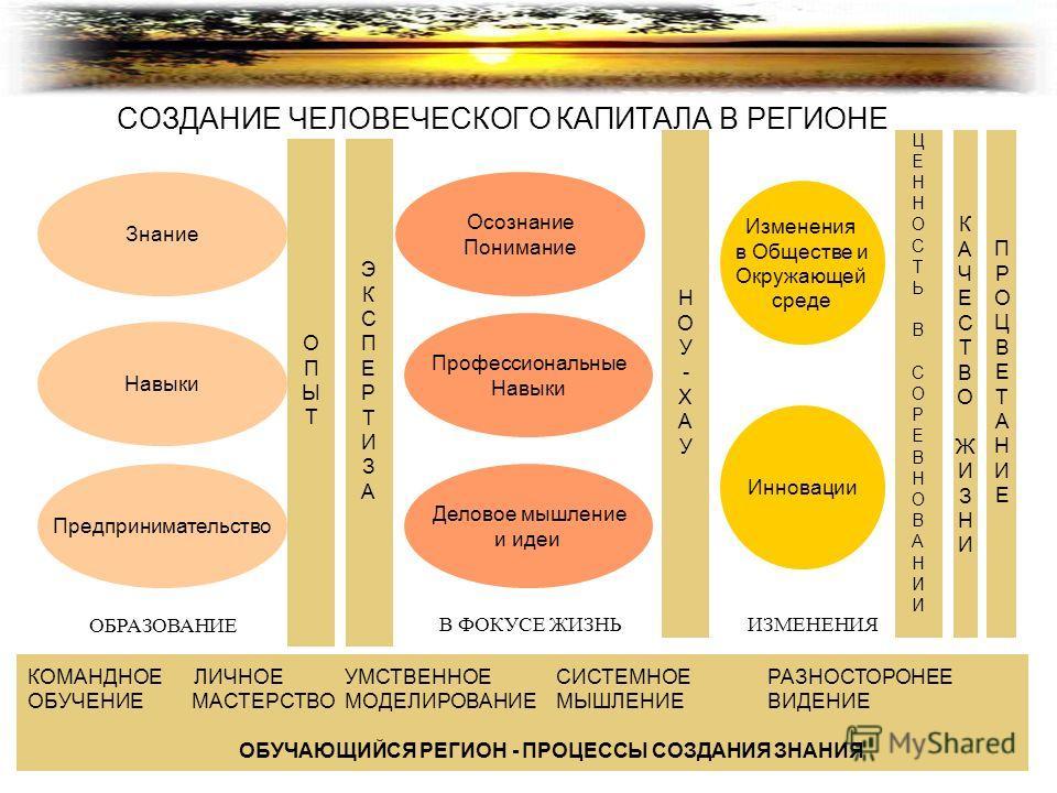 СОЗДАНИЕ ЧЕЛОВЕЧЕСКОГО КАПИТАЛА В РЕГИОНЕ Знание Навыки Предпринимательство КОМАНДНОЕ ЛИЧНОЕУМСТВЕННОЕСИСТЕМНОЕРАЗНОСТОРОНЕЕ ОБУЧЕНИЕ МАСТЕРСТВОМОДЕЛИРОВАНИЕМЫШЛЕНИЕВИДЕНИЕ ОБУЧАЮЩИЙСЯ РЕГИОН - ПРОЦЕССЫ СОЗДАНИЯ ЗНАНИЯ Деловое мышление и идеи Професс