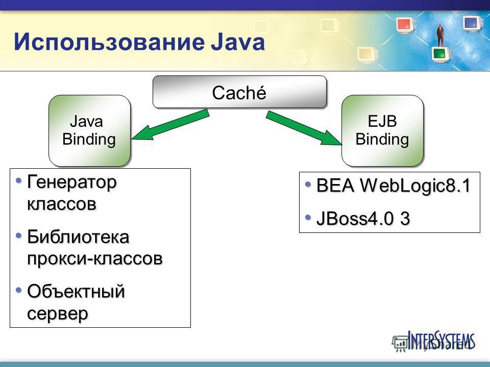 Использование Java BEA WebLogic8.1 BEA WebLogic8.1 JBoss4.0 3 JBoss4.0 3 Caché Java Binding Java Binding EJB Binding EJB Binding Генератор классов Генератор классов Библиотека прокси-классов Библиотека прокси-классов Объектный сервер Объектный сервер