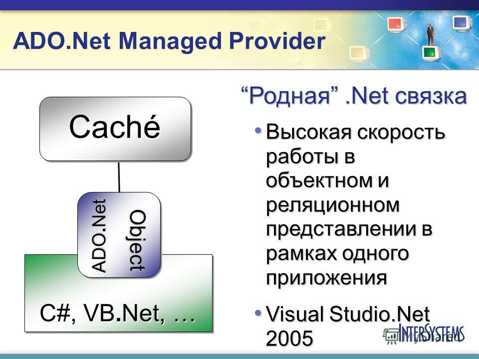ADO.Net Managed Provider C#, VB.Net, … ADO.Net Object Высокая скорость работы в объектном и реляционном представлении в рамках одного приложения Высокая скорость работы в объектном и реляционном представлении в рамках одного приложения Visual Studio.
