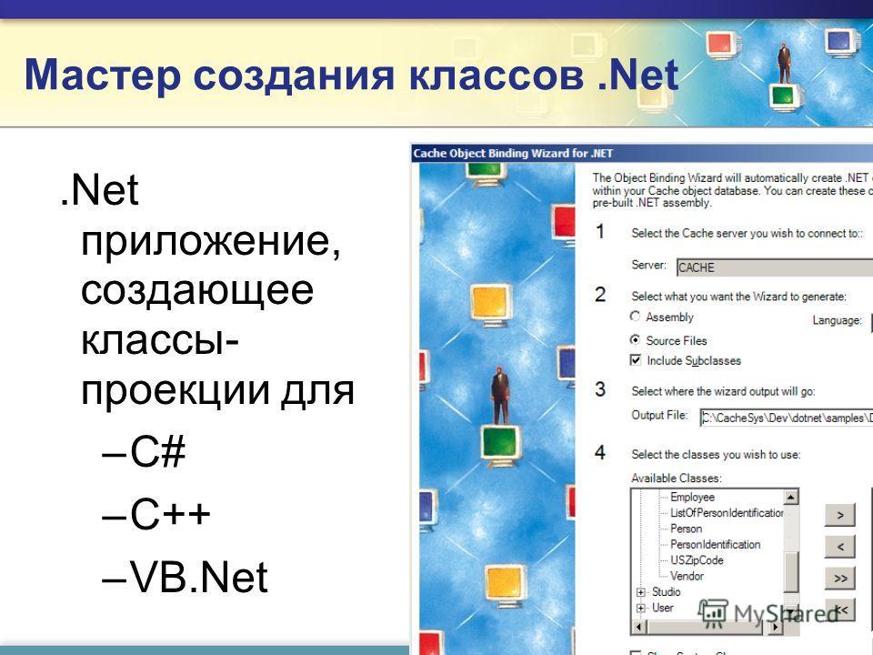 Мастер создания классов.Net.Net приложение, создающее классы- проекции для – –С# – –C++ – –VB.Net