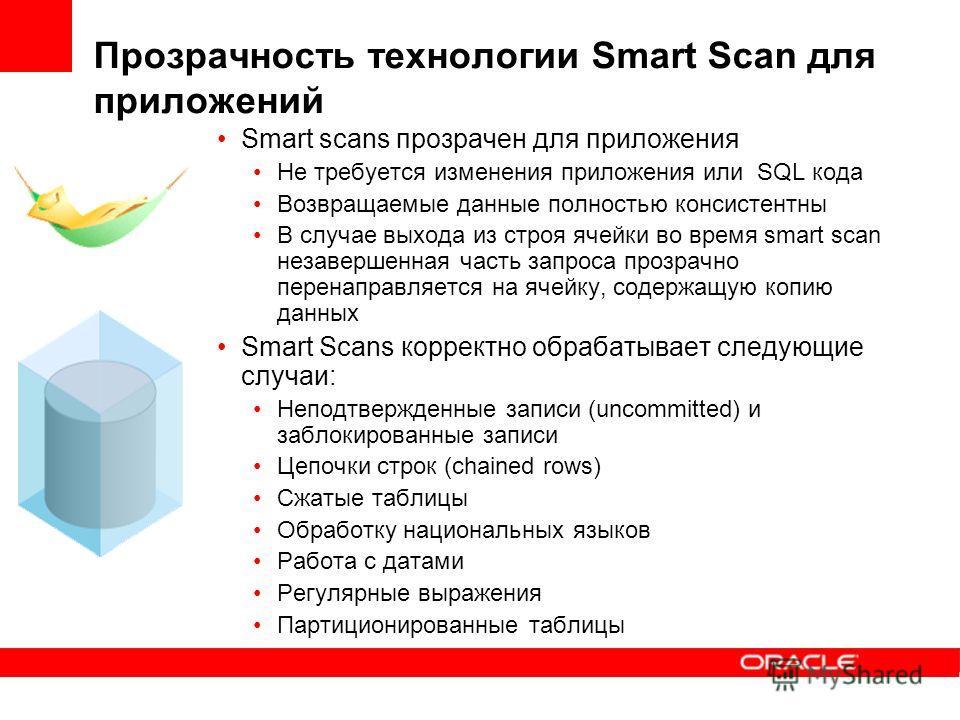 Прозрачность технологии Smart Scan для приложений Smart scans прозрачен для приложения Не требуется изменения приложения или SQL кода Возвращаемые данные полностью консистентны В случае выхода из строя ячейки во время smart scan незавершенная часть з