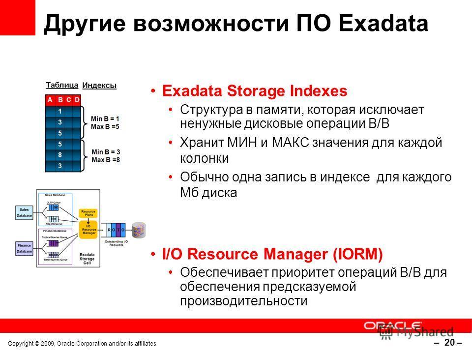 Copyright © 2009, Oracle Corporation and/or its affiliates – 20 – Другие возможности ПО Exadata Exadata Storage Indexes Структура в памяти, которая исключает ненужные дисковые операции В/В Хранит МИН и МАКС значения для каждой колонки Обычно одна зап