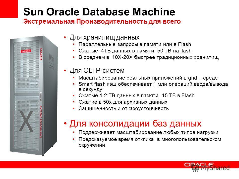 Sun Oracle Database Machine Экстремальная Производительность для всего Для хранилищ данных Параллельные запросы в памяти или в Flash Сжатые 4TB данных в памяти, 50 TB на flash В среднем в 10X-20X быстрее традиционных хранилищ Для OLTP-систем Масштаби