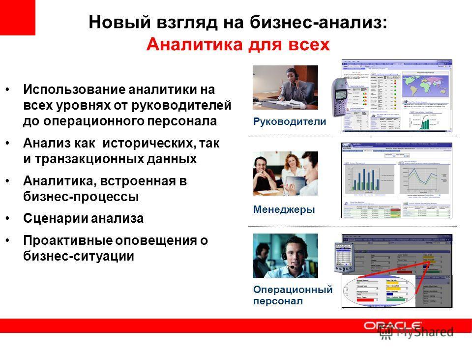 Новый взгляд на бизнес-анализ: Аналитика для всех Использование аналитики на всех уровнях от руководителей до операционного персонала Анализ как исторических, так и транзакционных данных Аналитика, встроенная в бизнес-процессы Сценарии анализа Проакт