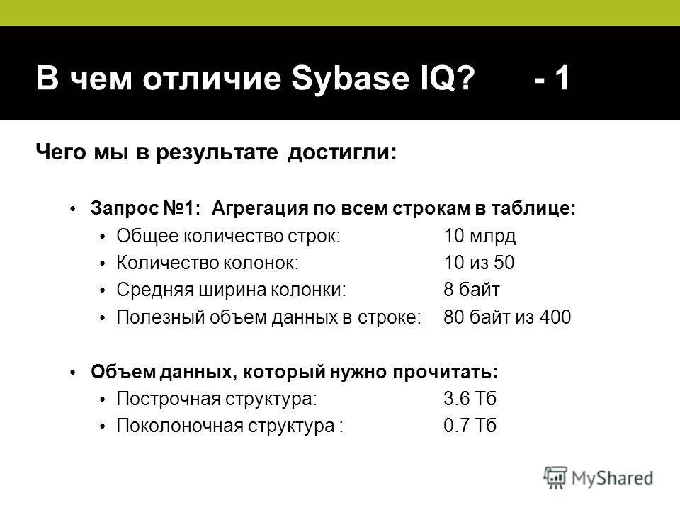 В чем отличие Sybase IQ? - 1 Чего мы в результате достигли: Запрос 1: Агрегация по всем строкам в таблице: Общее количество строк: 10 млрд Количество колонок:10 из 50 Средняя ширина колонки:8 байт Полезный объем данных в строке: 80 байт из 400 Объем