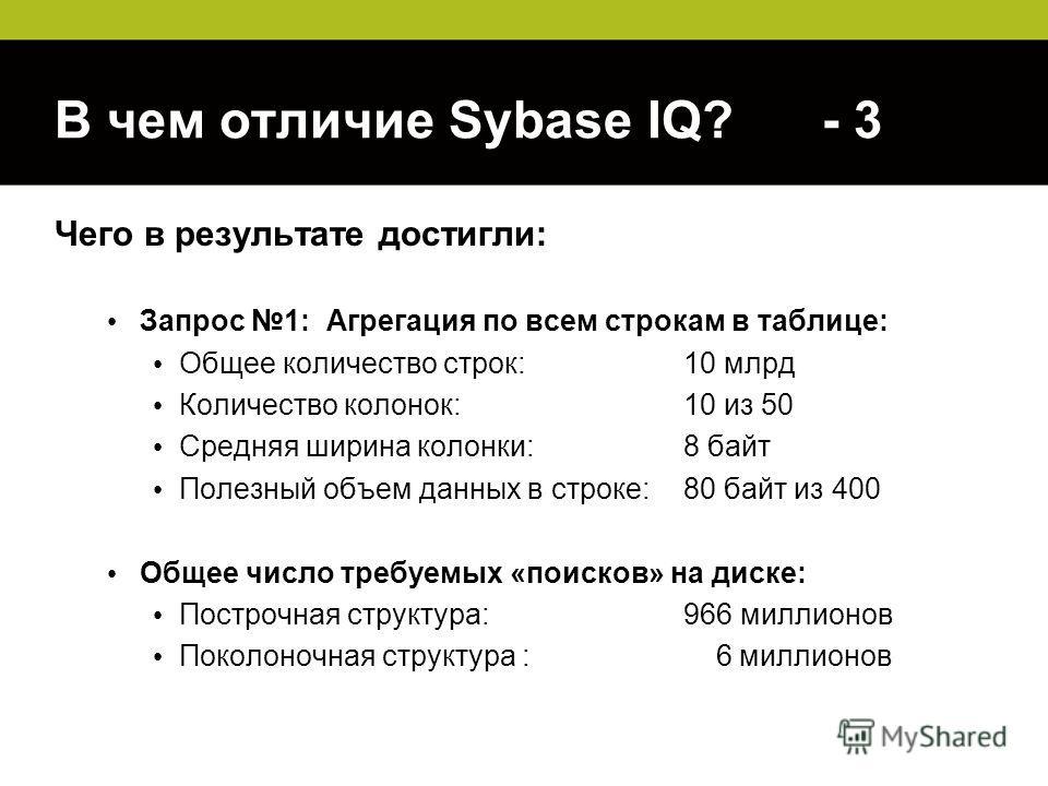 В чем отличие Sybase IQ? - 3 Чего в результате достигли: Запрос 1: Агрегация по всем строкам в таблице: Общее количество строк: 10 млрд Количество колонок:10 из 50 Средняя ширина колонки:8 байт Полезный объем данных в строке: 80 байт из 400 Общее чис