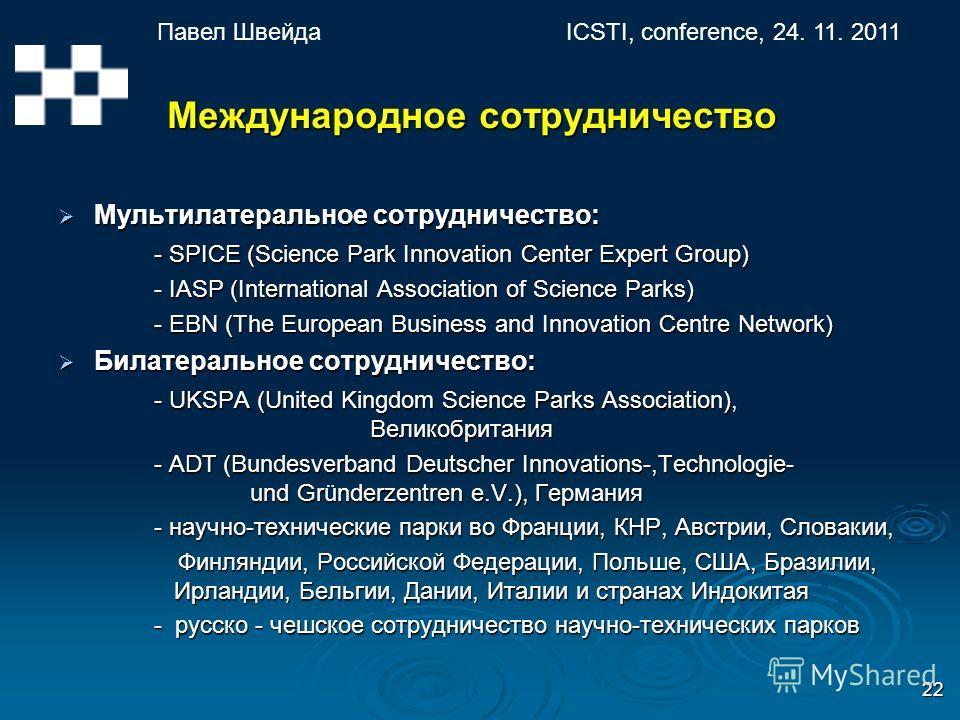 Павел ШвейдаICSTI, conference, 24. 11. 2011 22 Международное сотрудничество Международное сотрудничество Мультилатеральное сотрудничество: Мультилатеральное сотрудничество: - SPICE (Science Park Innovation Center Expert Group) - IASP (International A