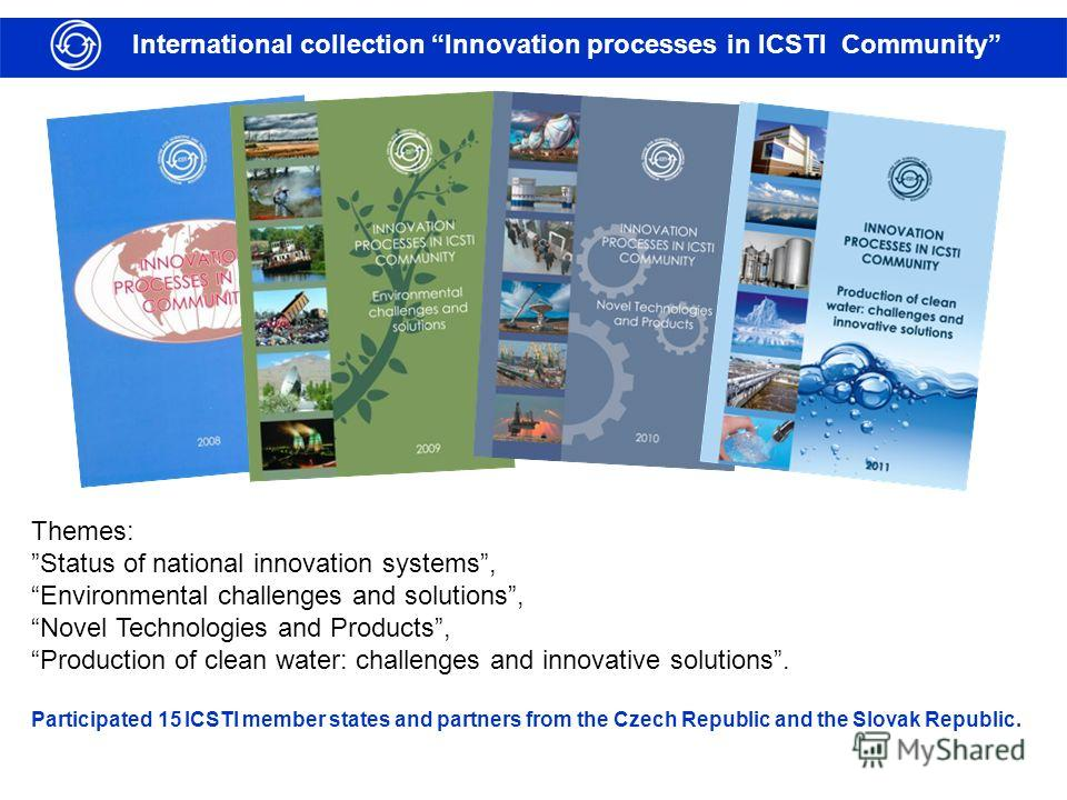 International collection Innovation processes in ICSTI Community Themes: Status of national innovation systems, Environmental challenges and solutions, Novel Technologies and Products, Production of clean water: challenges and innovative solutions. P