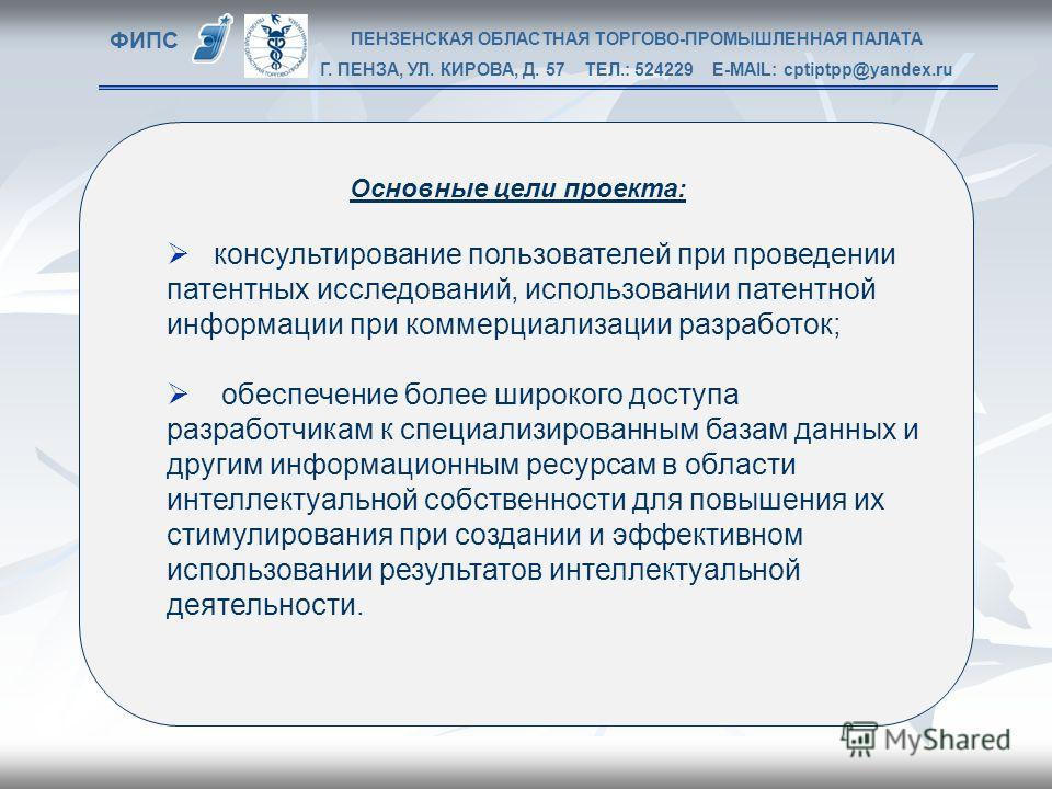 ФИПС Основные цели проекта: консультирование пользователей при проведении патентных исследований, использовании патентной информации при коммерциализации разработок; обеспечение более широкого доступа разработчикам к специализированным базам данных и
