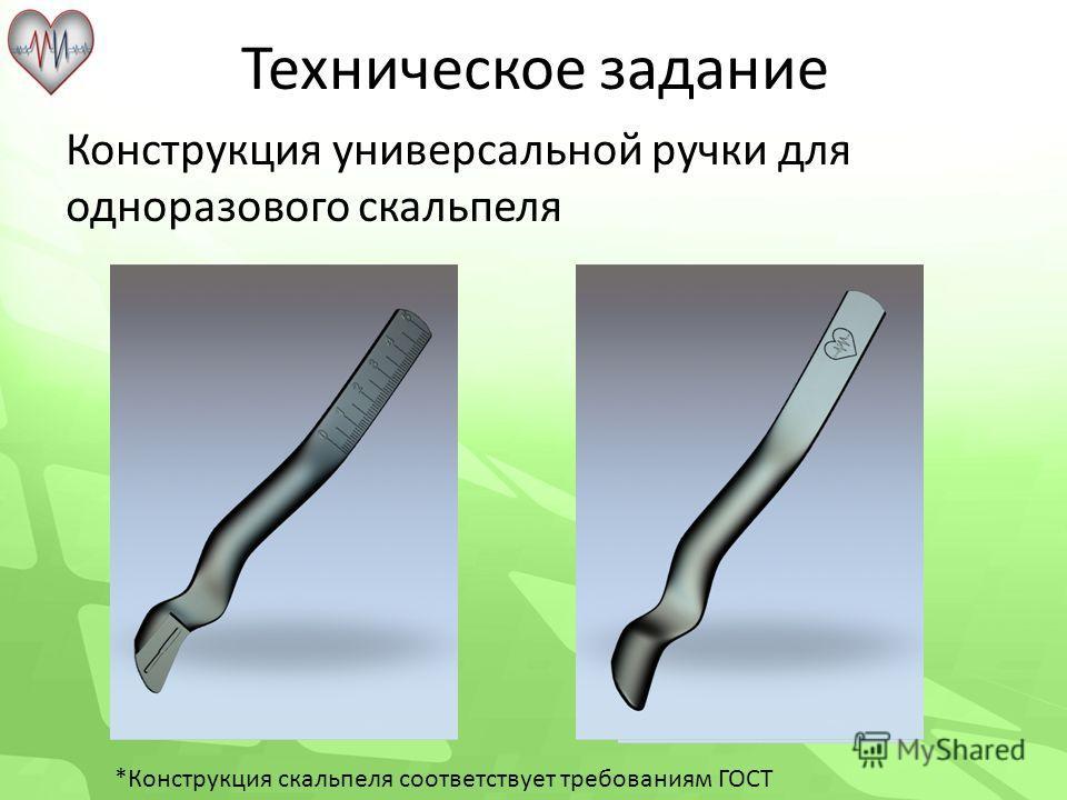 Техническое задание Конструкция универсальной ручки для одноразового скальпеля *Конструкция скальпеля соответствует требованиям ГОСТ