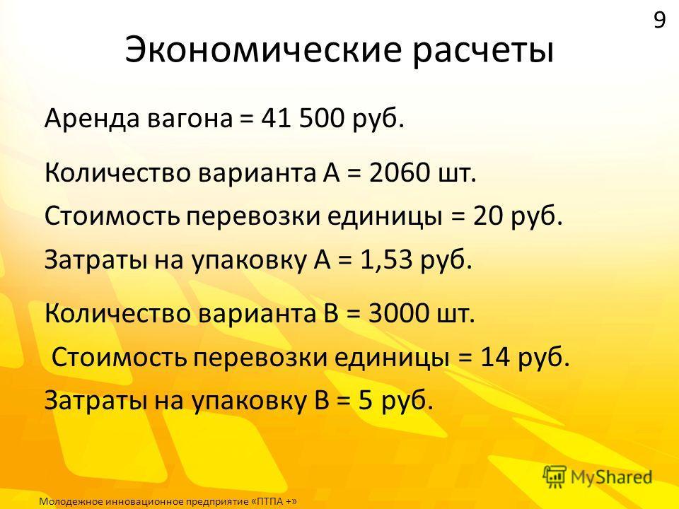 Экономические расчеты Аренда вагона = 41 500 руб. Количество варианта А = 2060 шт. Стоимость перевозки единицы = 20 руб. Затраты на упаковку А = 1,53 руб. Количество варианта В = 3000 шт. Стоимость перевозки единицы = 14 руб. Затраты на упаковку В =