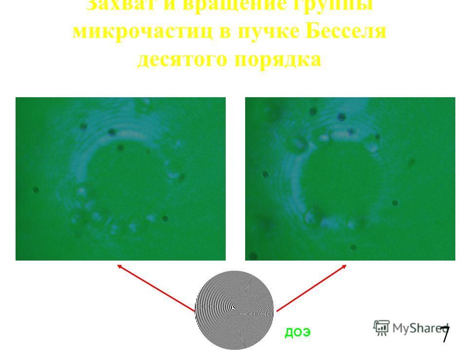 Захват и вращение группы микрочастиц в пучке Бесселя десятого порядка ДОЭ 7
