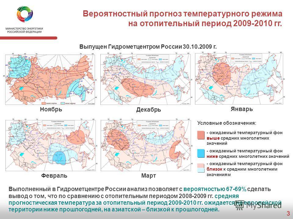 3 Вероятностный прогноз температурного режима на отопительный период 2009-2010 гг. Ноябрь Декабрь Январь ФевральМарт Выполненный в Гидрометцентре России анализ позволяет с вероятностью 67-69% сделать вывод о том, что по сравнению с отопительным перио