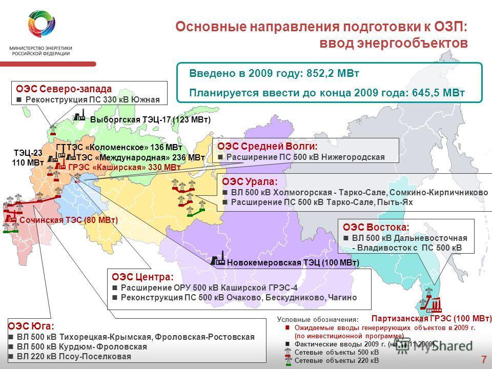 7 Основные направления подготовки к ОЗП: ввод энергообъектов Партизанская ГРЭС (100 МВт) Новокемеровская ТЭЦ (100 МВт) Введено в 2009 году: 852,2 МВт Планируется ввести до конца 2009 года: 645,5 МВт Выборгская ТЭЦ-17 (123 МВт) ТЭЦ-23 110 МВт Условные