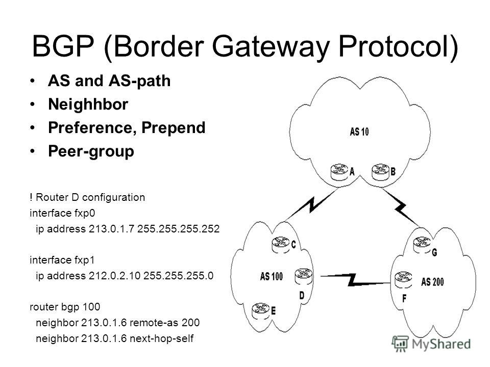 BGP (Border Gateway Protocol) AS and AS-path Neighhbor Preference, Prepend Peer-group ! Router D configuration interface fxp0 ip address 213.0.1.7 255.255.255.252 interface fxp1 ip address 212.0.2.10 255.255.255.0 router bgp 100 neighbor 213.0.1.6 re