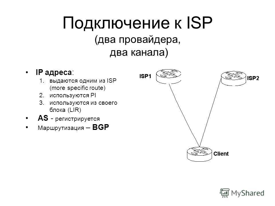 Подключение к ISP (два провайдера, два канала) IP адреса: 1.выдаются одним из ISP (more specific route) 2.используются PI 3.используются из своего блока (LIR) AS - регистрируется Маршрутизация – BGP