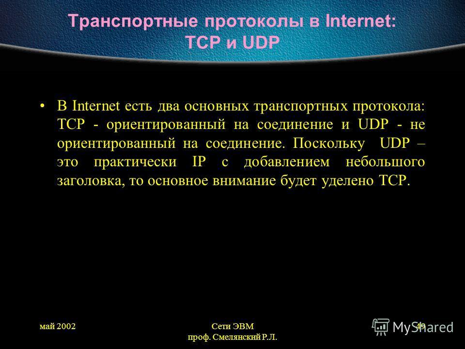май 2002Сети ЭВМ проф. Смелянский Р.Л. 49 Транспортные протоколы в Internet: TCP и UDP В Internet есть два основных транспортных протокола: TCP - ориентированный на соединение и UDP - не ориентированный на соединение. Поскольку UDP – это практически