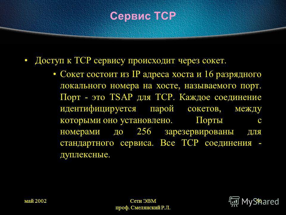май 2002Сети ЭВМ проф. Смелянский Р.Л. 50 Сервис TCP Доступ к ТСР сервису происходит через сокет. Сокет состоит из IP адреса хоста и 16 разрядного локального номера на хосте, называемого порт. Порт - это TSAP для ТСР. Каждое соединение идентифицирует