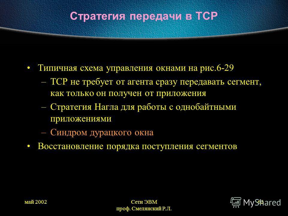 май 2002Сети ЭВМ проф. Смелянский Р.Л. 62 Стратегия передачи в TCP Типичная схема управления окнами на рис.6-29 –TCP не требует от агента сразу передавать сегмент, как только он получен от приложения –Стратегия Нагла для работы с однобайтными приложе