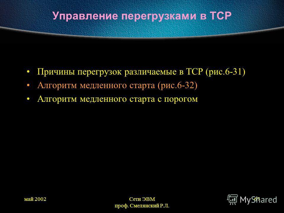 май 2002Сети ЭВМ проф. Смелянский Р.Л. 67 Управление перегрузками в TCP Причины перегрузок различаемые в TCP (рис.6-31) Алгоритм медленного старта (рис.6-32) Алгоритм медленного старта с порогом