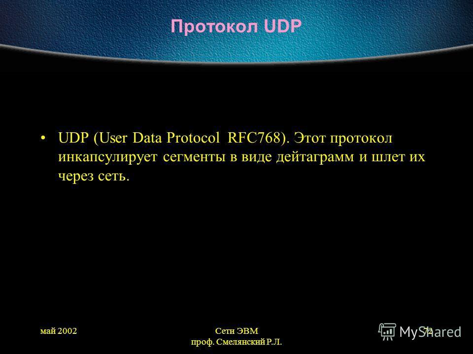 май 2002Сети ЭВМ проф. Смелянский Р.Л. 72 Протокол UDP UDP (User Data Protocol RFC768). Этот протокол инкапсулирует сегменты в виде дейтаграмм и шлет их через сеть.