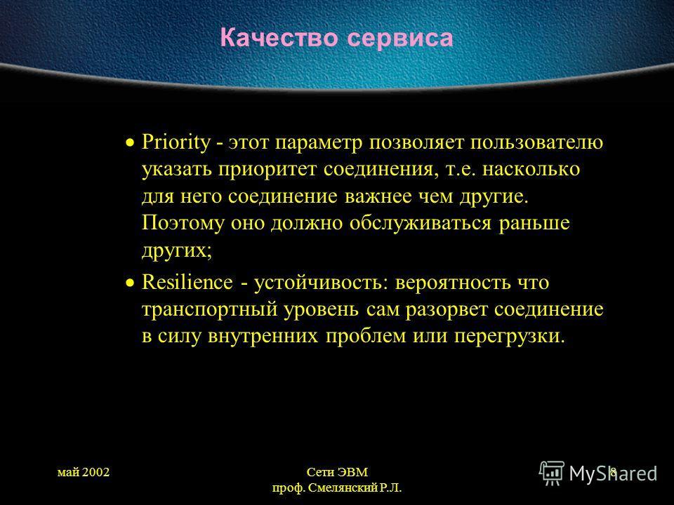 май 2002Сети ЭВМ проф. Смелянский Р.Л. 8 Качество сервиса Priority - этот параметр позволяет пользователю указать приоритет соединения, т.е. насколько для него соединение важнее чем другие. Поэтому оно должно обслуживаться раньше других; Resilience -