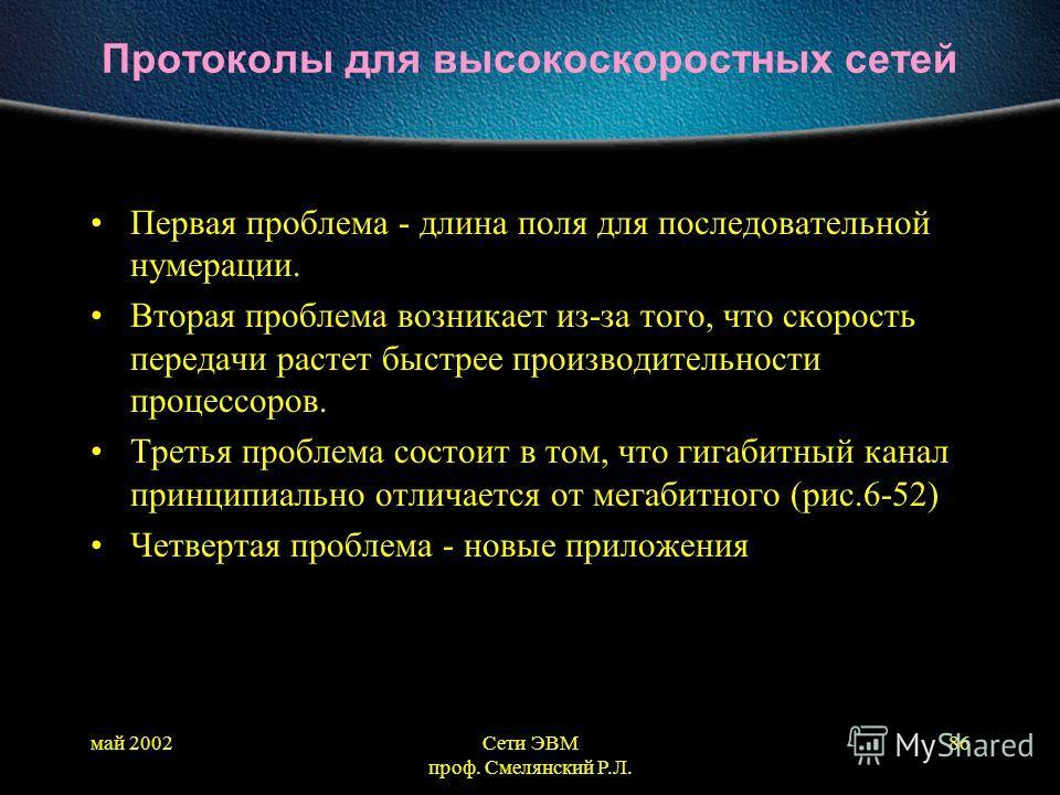 май 2002Сети ЭВМ проф. Смелянский Р.Л. 86 Протоколы для высокоскоростных сетей Первая проблема - длина поля для последовательной нумерации. Вторая проблема возникает из-за того, что скорость передачи растет быстрее производительности процессоров. Тре
