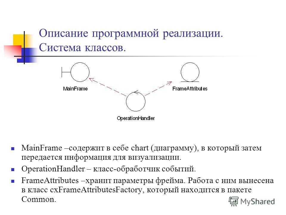 Описание программной реализации. Система классов. MainFrame –содержит в себе chart (диаграмму), в который затем передается информация для визуализации. OperationHandler – класс-обработчик событий. FrameAttributes –хранит параметры фрейма. Работа с ни