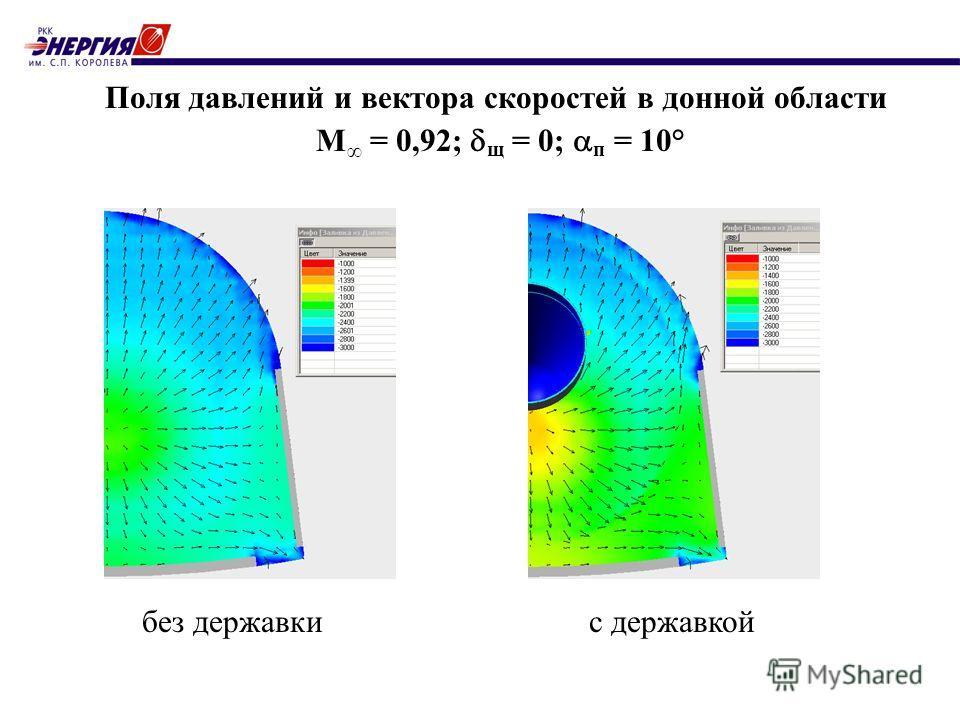 Поля давлений и вектора скоростей в донной области М = 0,92; щ = 0; п = 10° без державкис державкой