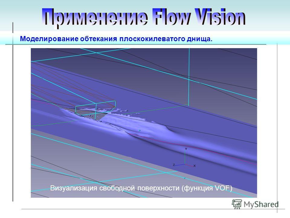 Моделирование обтекания плоскокилеватого днища. Визуализация свободной поверхности (функция VOF)