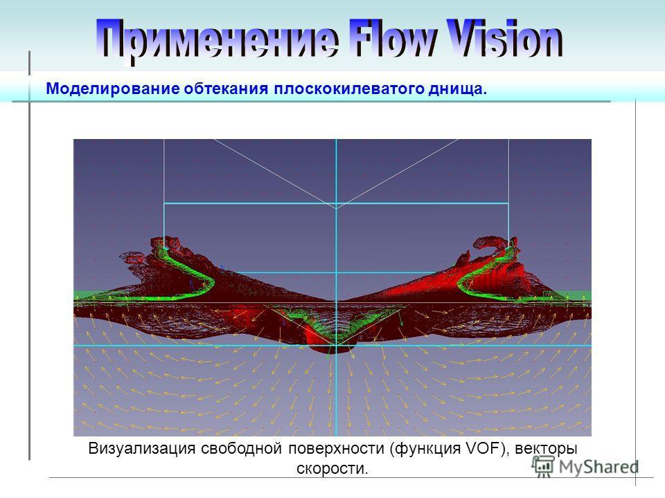 Моделирование обтекания плоскокилеватого днища. Визуализация свободной поверхности (функция VOF), векторы скорости.